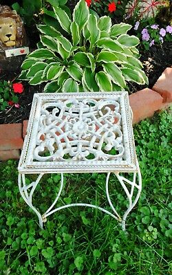 Vintage Antique French Wrought Cast Iron Patio Garden Side Table Plant Stand