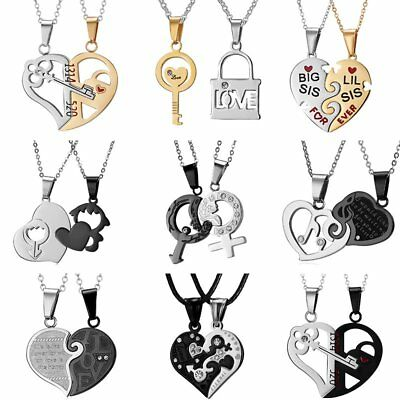 Fashion 2Pcs Couple Stainless Steel Pendant Necklace Key Puzzle Heart Jewellery