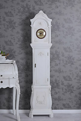 Floor Clock Country House Style Watch White Antique Shabby Chic Regulator 180 Cm