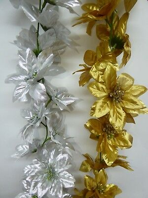 140m 5ft Artificial Christmas Silver/Gold Poinsettia Garland Festive Decoration