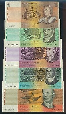 "Australia: 1979 $1 to $20 Knight-Stone. ""AUSTRALIA TITLE"" SIGNATURE SET OF 5"
