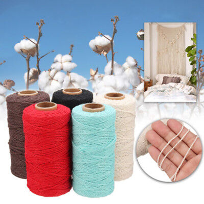 100m / Roll Macrame Rope Colorful Cotton Twisted Cord Artisan String DIY Craft
