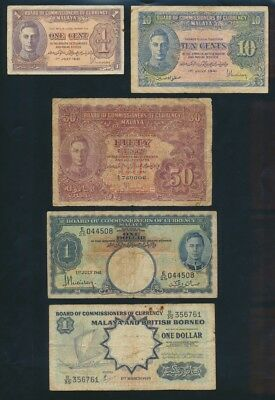 """Malaya: 1941-59 1 Cent to $100 """"COLLECTION OF 15 DIFFERENT NOTES"""". Pick 6-M8b"""