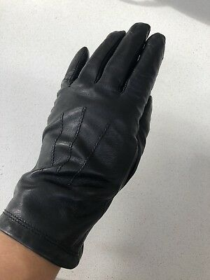 Marks And Spencer Womens Black Leather Gloves Size Small