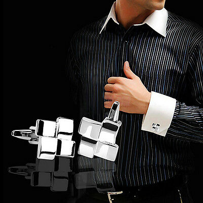 WO_ EG_ HK- Men's Silver Dress Shirt Cufflinks Cuff Links Wedding Groom Jewelry