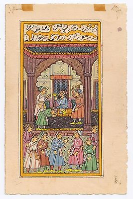 Indian Moghul Empire Mughal Court Miniature Water Color Painting Hand Painted