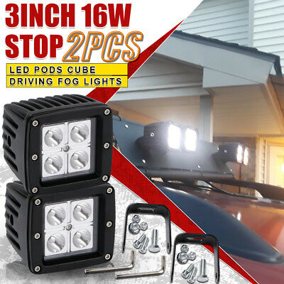 "2x 3""Inch 16W LED 1600LM Work Light Spot Lamp CUBE PODs Square For Truck 4WD GMC"