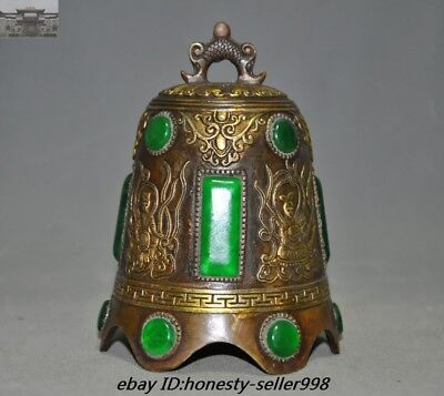 "6"" Old Chinese Dynasty Temple Bronze inlay Green Jade Gem Buddha Pray Bell Zhong"