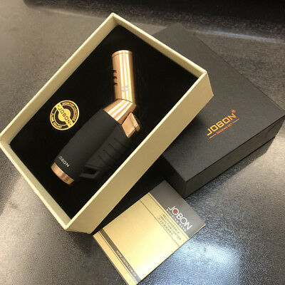 Jobon 3 Jet Torch Nozzle Adjustable Butane Refillable Cigarette Lighter Gold