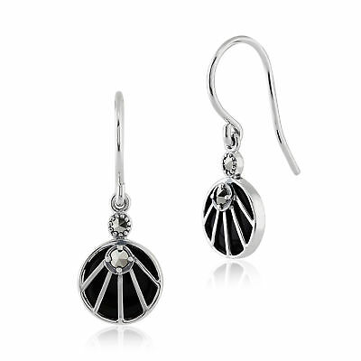 Sterling Silver 2ct Black Onyx & 0.13ct Marcasite Art Deco Round Drop Earrings