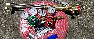 Victor Cutting Torch hoses tips and tip cleaner.plus oxygen and acetylene gauge