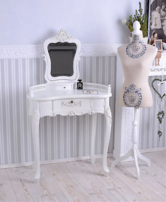 Make-Up Table with Mirror Vanity Cupboard Vintage Shabby Women's Desk Retro