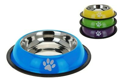Stainless Steel Dog Pet Feeding Water Bowl Non Slip Rubber Rim - 4 Candy Colours