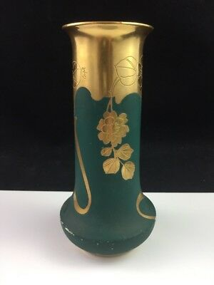 """PICKARD Limoges 6"""" Vase Matte Green Gold EMERALDUS ROSA Pattern Signed COUFALL"""