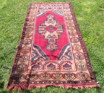 Vintage Hand-Woven Oushak Traditional Wool Red Living Room Large Area Rug 4'x8'