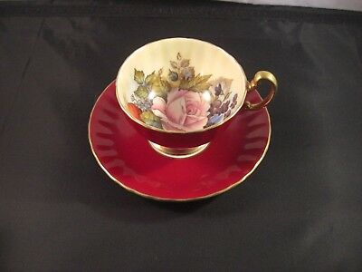 Vintage Aynsley Cabbage Rose Cup & Saucer Signed J A Bailey