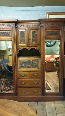 Edwardian Double Twin Mirrored Mahogany Breakfront Wardrobe  With Center Bureau