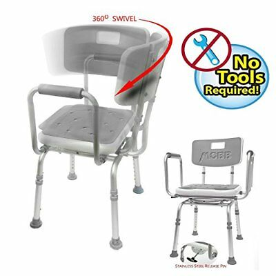 MOBB Premium Bathroom Swivel Shower Chair Bath Bench with Back, 360 Degree