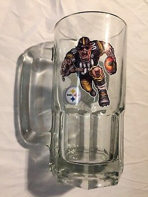 "Large Vintage Rare 8"" Pittsburgh Steelers Beer Stein Glass Mug Man Cave 24 Oz"