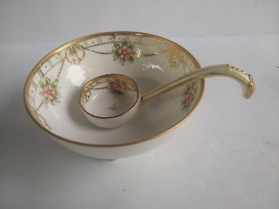 Nippon Pink Floral Porcelain Mayonnaise Bowl Spoon Set Gold Beaded Trim