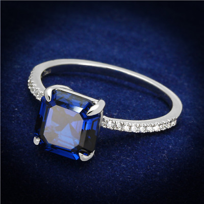 S177 Asscher STERLING SILVER SIMULATED DIAMOND RING MICRO PAVE SAPPHIRE BLUE
