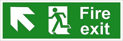 Fire Exit Safety Signs - Running Man Arrow Up Left (Various Sizes Available)