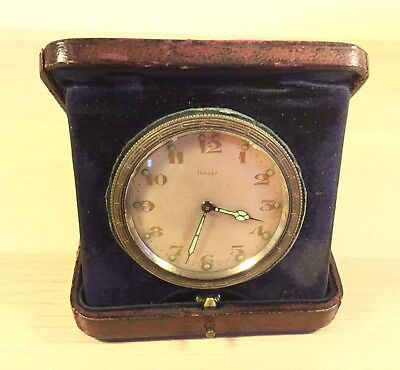 Antique Swiss 8 Day Leather case Car Dash Pocket Travel Clock - working. (MJ364)