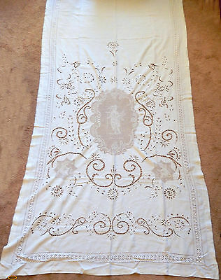Antique Italian Linen FIGURAL Lace Bed Cover/Table Cloth/ Hand Crafted