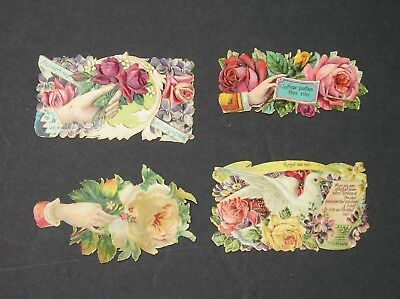 Lot of 4 Vintage Calling Cards Victorian Scraps For frame or projects OLD