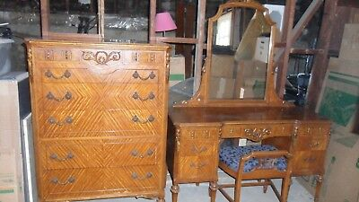 Berkey and Gay Antique French Satin Wood 5 piece  Bedroom Set