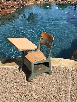 30137 Vintage Childs / Student Metal Elementary SCHOOL DESK CHAIR Mid Century
