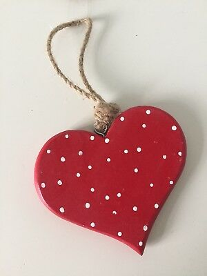 Vintage Red Polka Dot Wooden Heart Christmas Woodland Forest Hanging Decoration