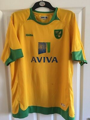 2008/2010 Norwich City FC home football shirt Xara Aviva XXL men's Canaries