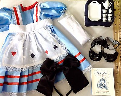 """Alice in Wonderland Costume for American Girl Doll 18"""" Clothes & Accessories SET"""