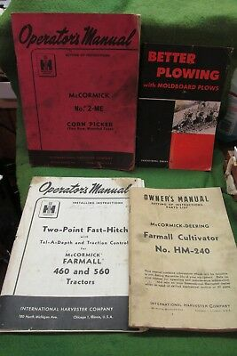 """{ 2 }  Four Old """"IH"""" McCormick & Farmall Booklets"""
