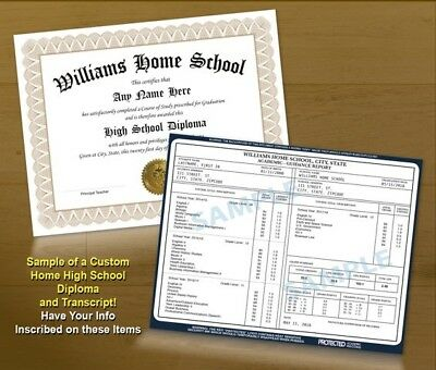 College University Home High School GED Custom Diploma & Transcript - Gold Seal