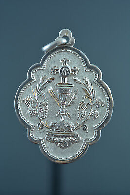 1886 Large French Religious Medal Pendant Communion Chalice