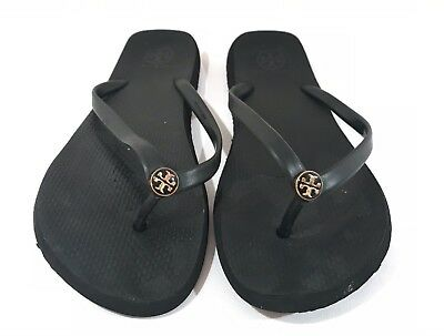 4b74da0a23bb Tory Burch Black Flip Flops Womens Size 8 Slip On Sandals Gold Logo