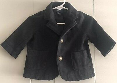 Infant Boys Baby Gap Blazer And Paisley Tie Black w/Gold Buttons Size 0-6 Months