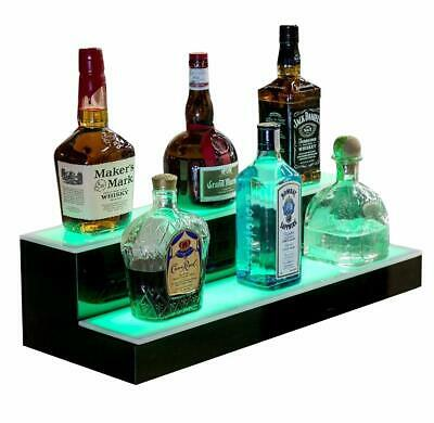 "16"" 2 LED Liquor Bottle Display Shelf Wine Rack Bar Supply Stand Wireless Remote"