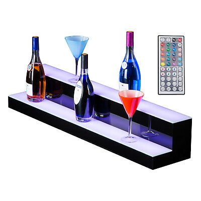 "40"" 2 LED Liquor Bottle Display Shelf Wine Rack Bar Supply Stand Wireless Remote"