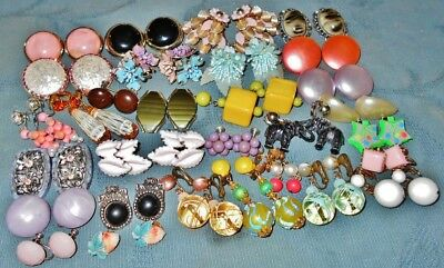 Large Colorful Variety  30 pair  Vintage Old Plastic Earrings  Mostly Clip-on