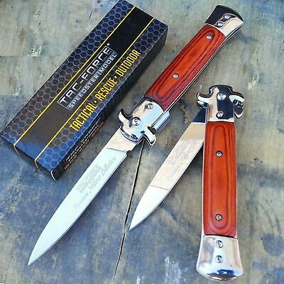 "TAC FORCE 9"" Extra Large Spring Assisted Open STILETTO HARDWOOD Pocket Knife"