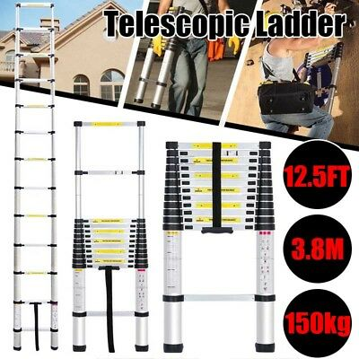 Multi-use 3.8M 12.5FT Telescopic Extension Step Ladder Heavy Duty Giant Aluminum