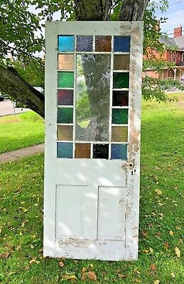 Antique Queen Anne Victorian Stained/Slag Glass Entry Door  - Circa 1890's