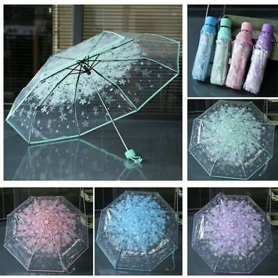 Transparent Anti-UV Windproof Folding Travel Sun Rain Automatic Umbrella Parasol