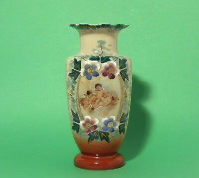 Antique Cherub Decorated Cream Glass Vase