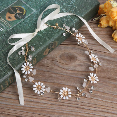 Gold Daisy Garland Vine Wedding Bridal bride piece hair Accessories Headband