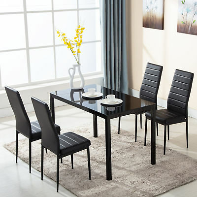 5 PCS Glass Dining Table Set with 4 Leather Chairs Kitchen Room Furniture Black