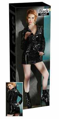 Black Level Lack Mantelkleid schwarz XL Kleid Dress Erotik Bekleidung Wetlook